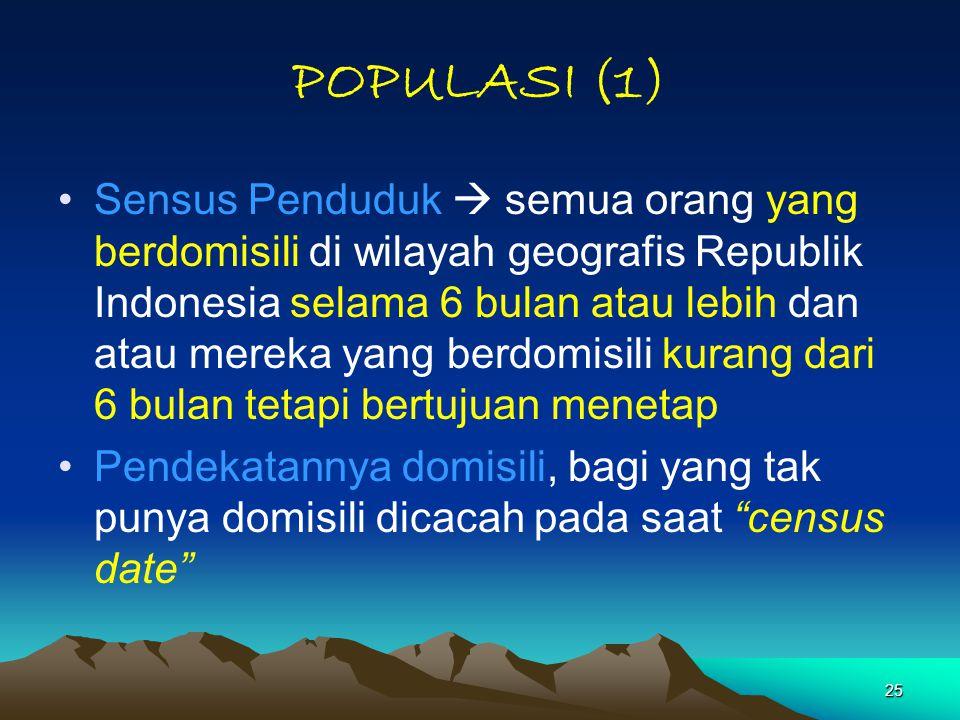 25 POPULASI (1) Sensus Penduduk  semua orang yang berdomisili di wilayah geografis Republik Indonesia selama 6 bulan atau lebih dan atau mereka yang berdomisili kurang dari 6 bulan tetapi bertujuan menetap Pendekatannya domisili, bagi yang tak punya domisili dicacah pada saat census date