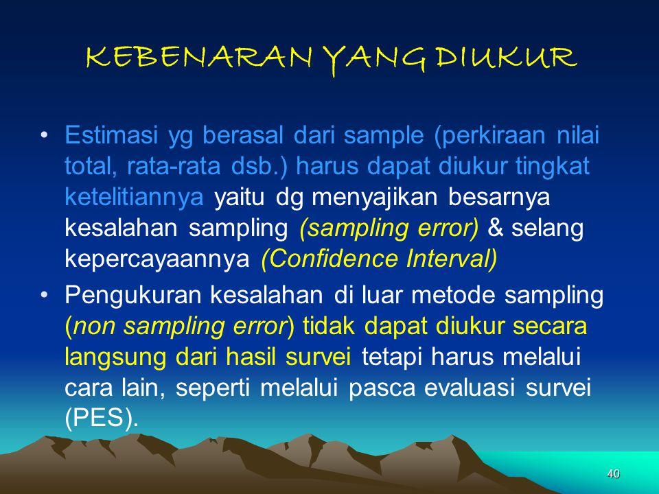 40 KEBENARAN YANG DIUKUR Estimasi yg berasal dari sample (perkiraan nilai total, rata-rata dsb.) harus dapat diukur tingkat ketelitiannya yaitu dg men