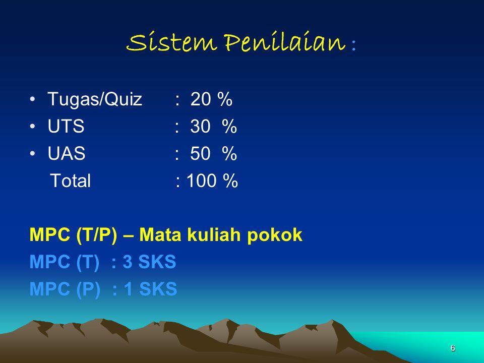 6 Sistem Penilaian : Tugas/Quiz : 20 % UTS: 30 % UAS : 50 % Total : 100 % MPC (T/P) – Mata kuliah pokok MPC (T) : 3 SKS MPC (P) : 1 SKS