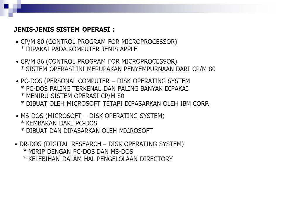 DR-DOS (DIGITAL RESEARCH – DISK OPERATING SYSTEM) * MIRIP DENGAN PC-DOS DAN MS-DOS * KELEBIHAN DALAM HAL PENGELOLAAN DIRECTORY JENIS-JENIS SISTEM OPER