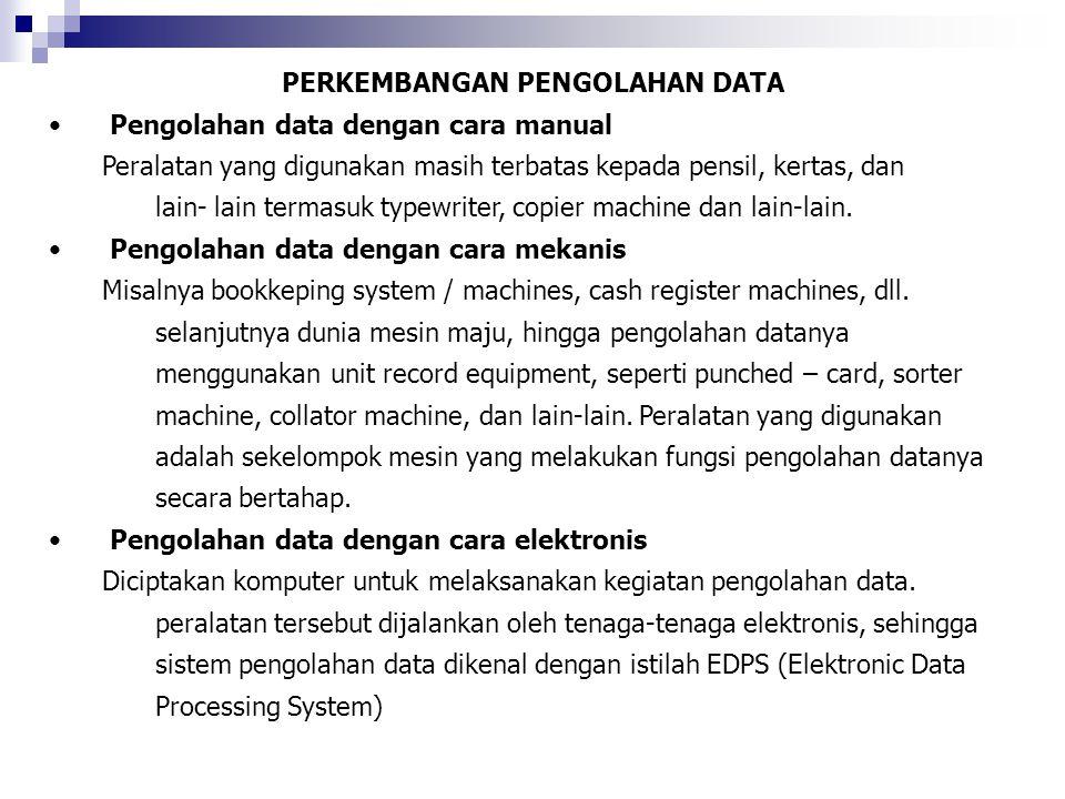 PERKEMBANGAN PENGOLAHAN DATA Pengolahan data dengan cara manual Peralatan yang digunakan masih terbatas kepada pensil, kertas, dan lain- lain termasuk