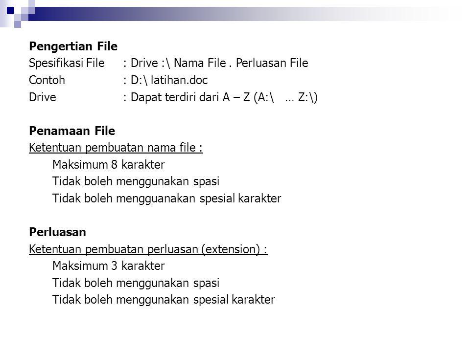 Pengertian File Spesifikasi File : Drive :\ Nama File. Perluasan File Contoh: D:\ latihan.doc Drive : Dapat terdiri dari A – Z (A:\ … Z:\) Penamaan Fi