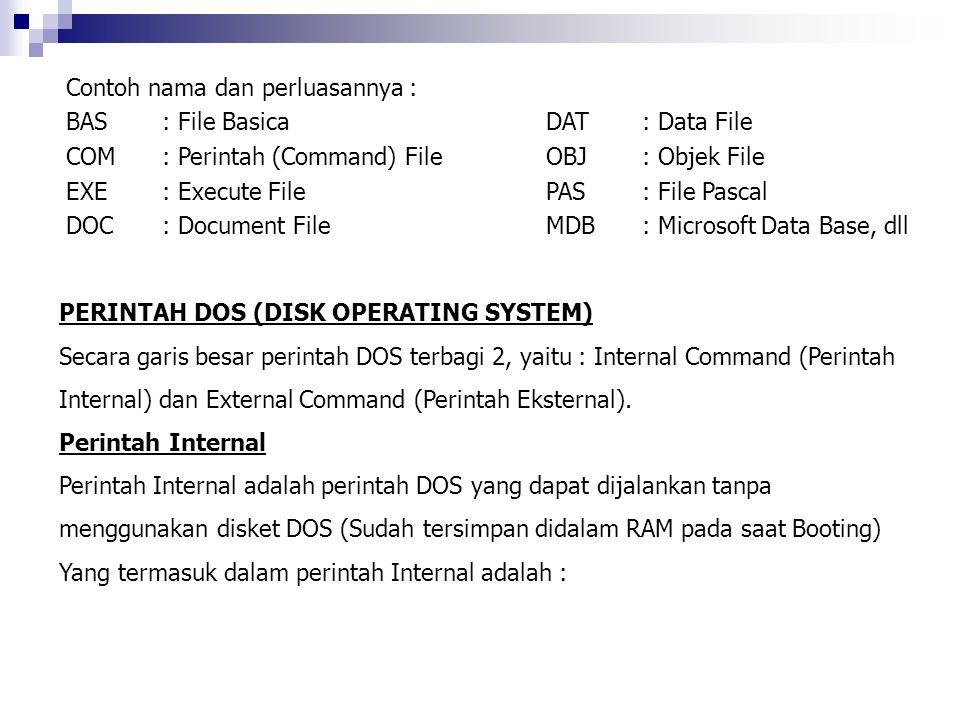 Contoh nama dan perluasannya : BAS: File BasicaDAT: Data File COM: Perintah (Command) FileOBJ: Objek File EXE: Execute FilePAS: File Pascal DOC: Docum