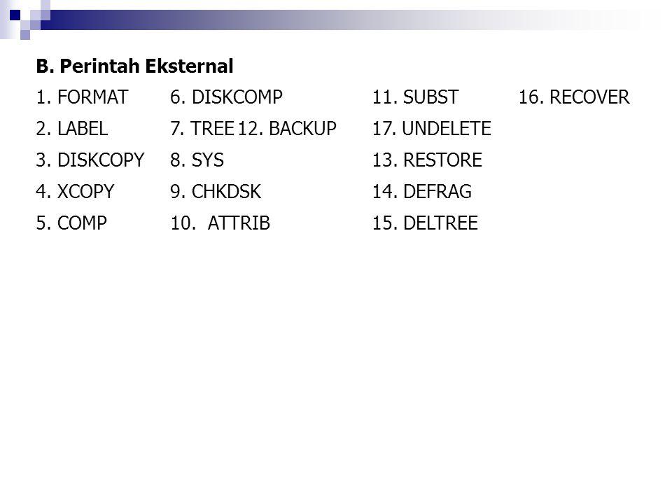 B. Perintah Eksternal 1. FORMAT6. DISKCOMP11. SUBST 16. RECOVER 2. LABEL7. TREE12. BACKUP17. UNDELETE 3. DISKCOPY8. SYS13. RESTORE 4. XCOPY9. CHKDSK14
