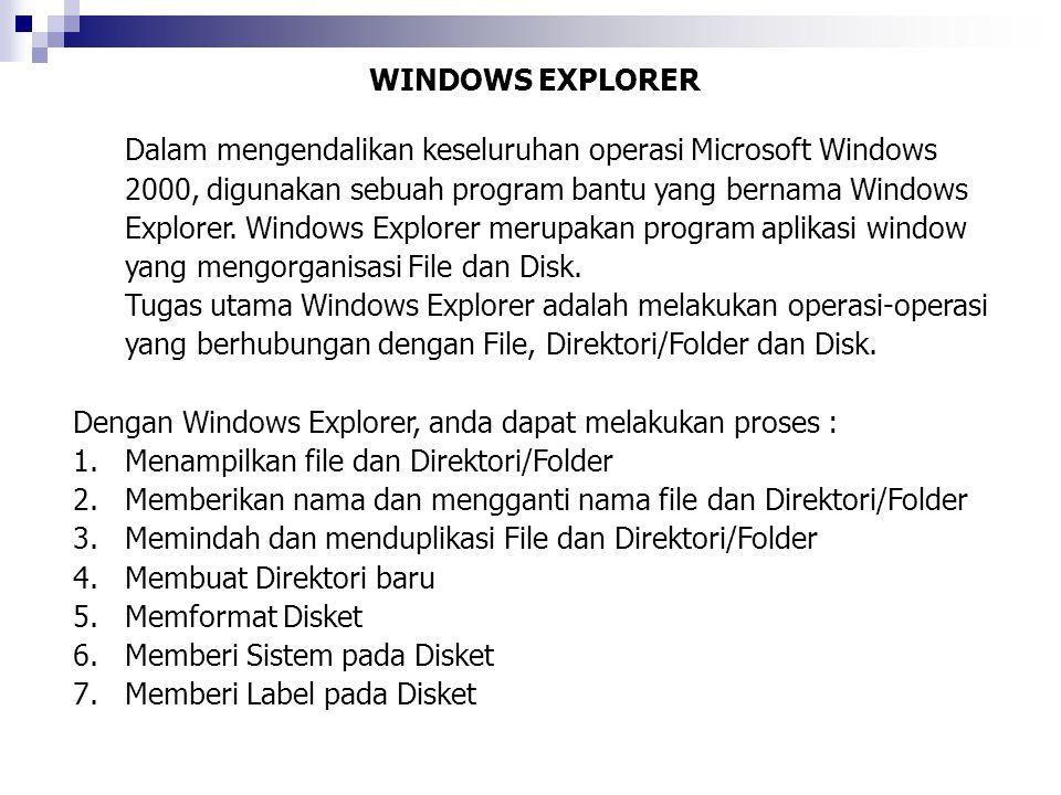 WINDOWS EXPLORER Dalam mengendalikan keseluruhan operasi Microsoft Windows 2000, digunakan sebuah program bantu yang bernama Windows Explorer. Windows