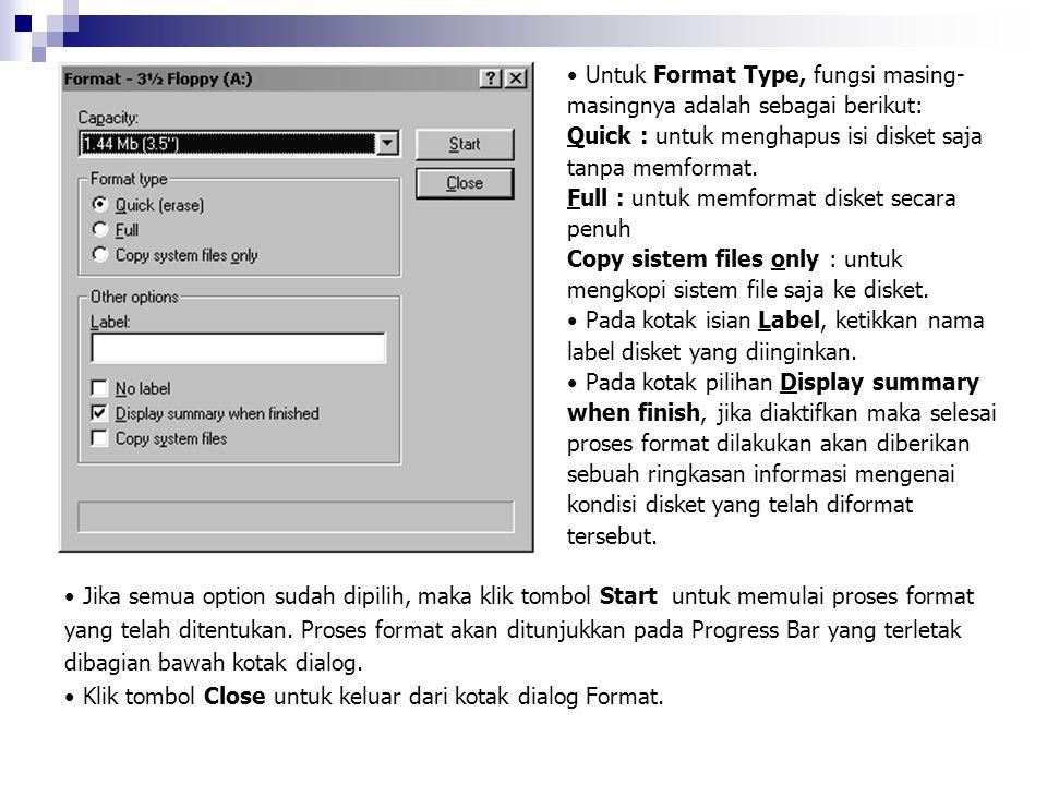 Untuk Format Type, fungsi masing- masingnya adalah sebagai berikut: Quick : untuk menghapus isi disket saja tanpa memformat. Full : untuk memformat di