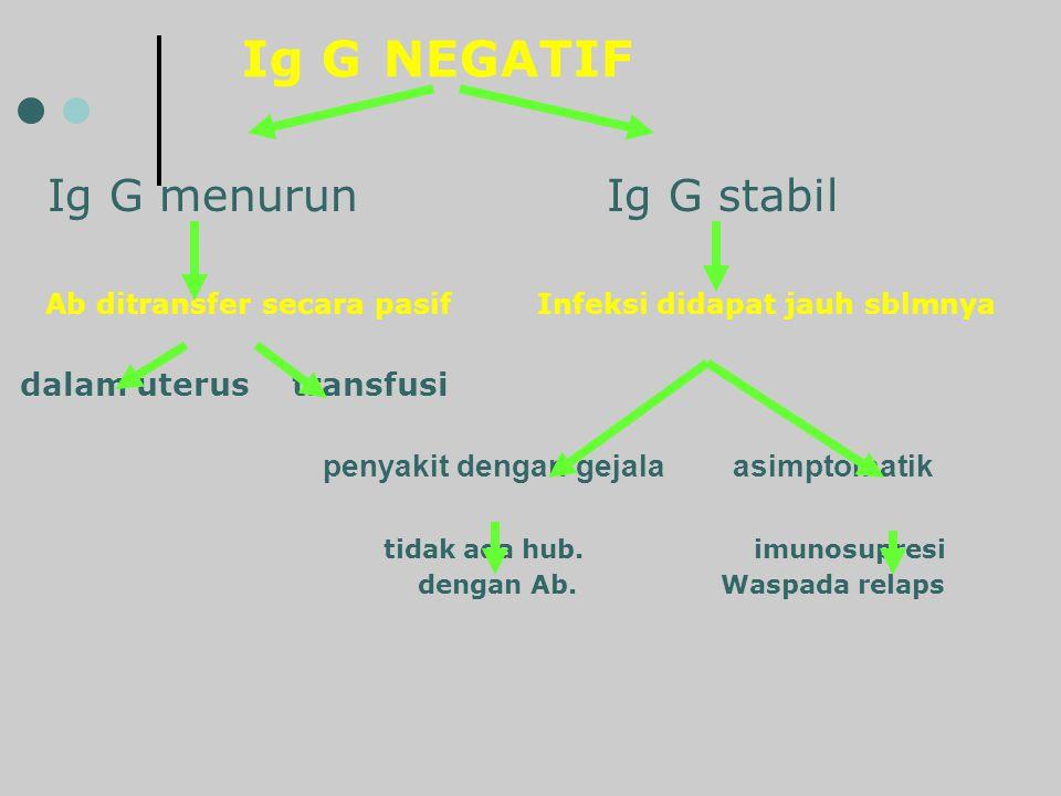 Ig G NEGATIF Ig G menurun Ig G stabil Ab ditransfer secara pasif Infeksi didapat jauh sblmnya dalam uterus transfusi penyakit dengan gejala asimptomat