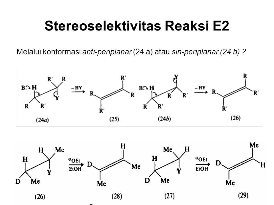 Stereoselektivitas Reaksi E2 Melalui konformasi anti-periplanar (24 a) atau sin-periplanar (24 b) ?