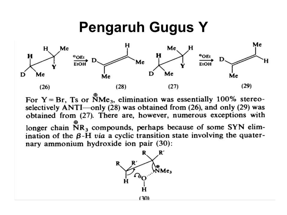 Pengaruh Gugus Y Untuk Y = Br, Ts, atau + NMe 3 praktis anti-periplanar, kecuali pada senyawa NR 3 rantai panjang.