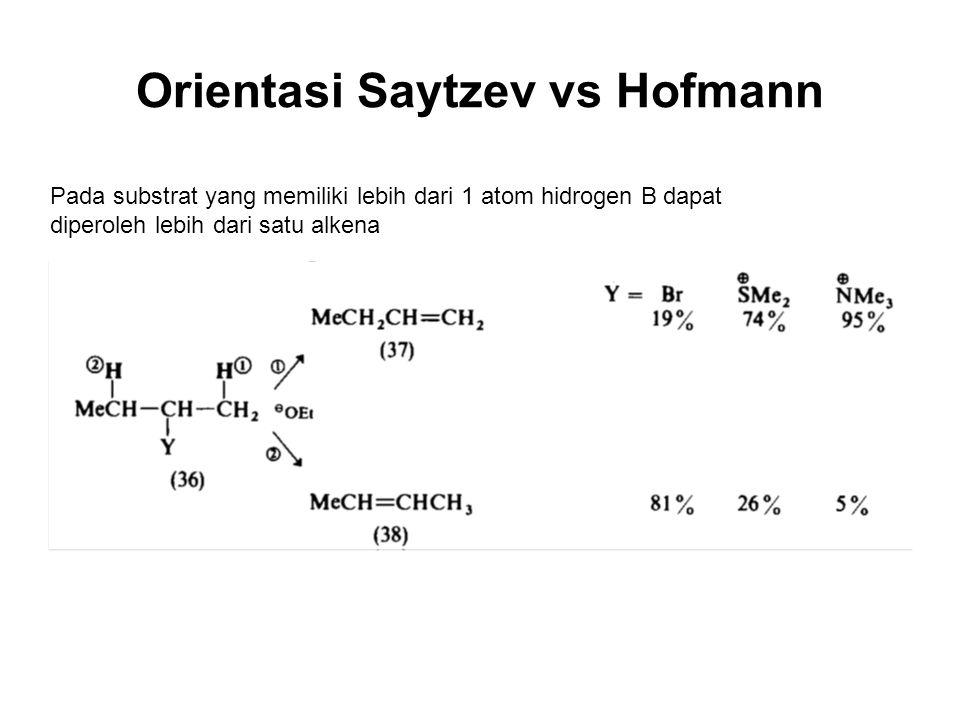 Pada substrat yang memiliki lebih dari 1 atom hidrogen B dapat diperoleh lebih dari satu alkena Orientasi Saytzev vs Hofmann