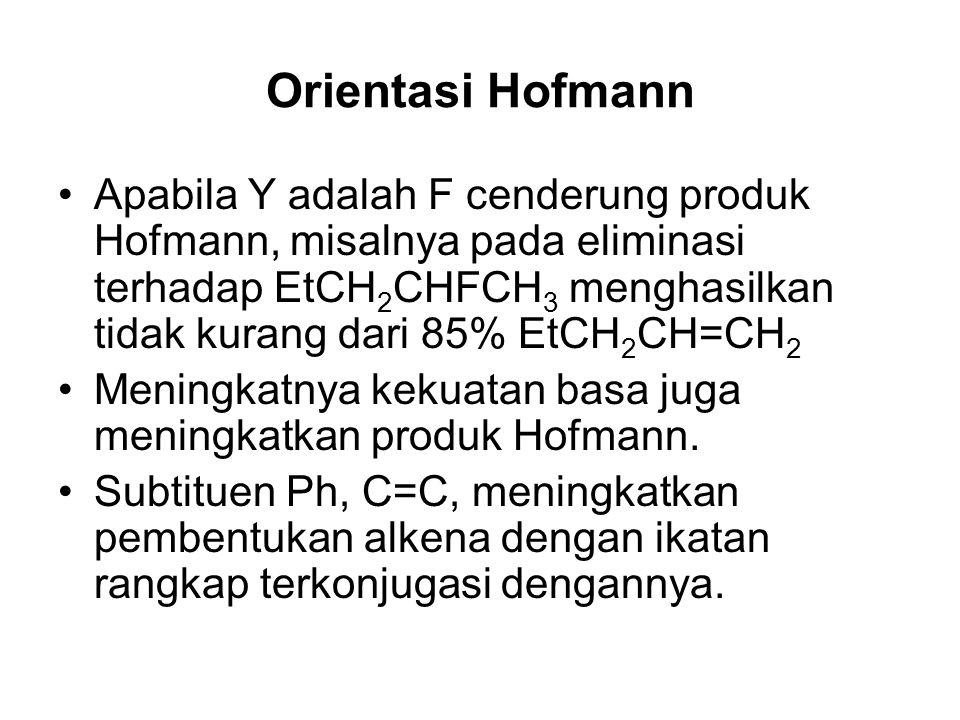 Orientasi Hofmann Apabila Y adalah F cenderung produk Hofmann, misalnya pada eliminasi terhadap EtCH 2 CHFCH 3 menghasilkan tidak kurang dari 85% EtCH 2 CH=CH 2 Meningkatnya kekuatan basa juga meningkatkan produk Hofmann.