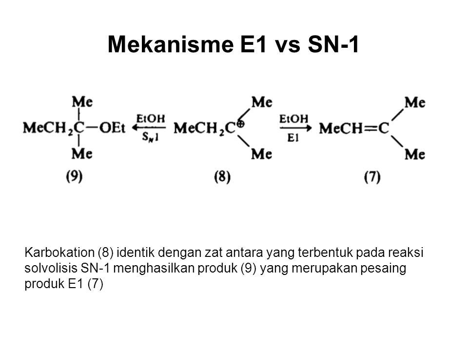 Mekanisme E1 vs SN-1 Karbokation (8) identik dengan zat antara yang terbentuk pada reaksi solvolisis SN-1 menghasilkan produk (9) yang merupakan pesaing produk E1 (7)