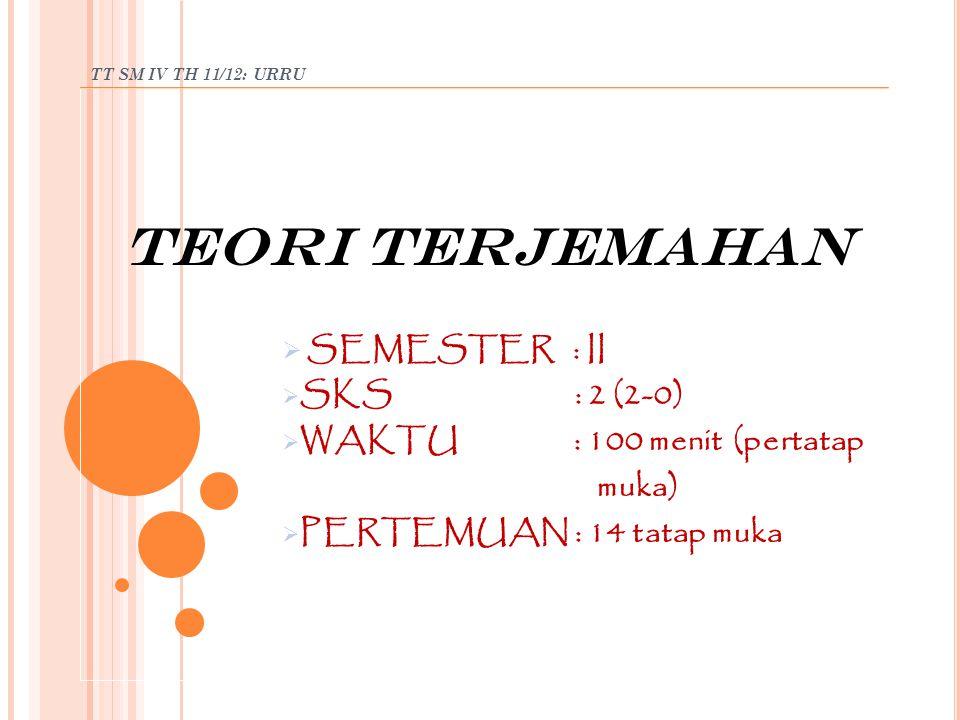 TT SM IV TH 11/12: URRU MATERI TM II: PB/SUB PB: TERJEM DLM PERSPEKTIF SEJ/KARYA TERJEM KARYA TERJEM Ab 20 banyak bk terjem, terut bdg ip & teknlg.