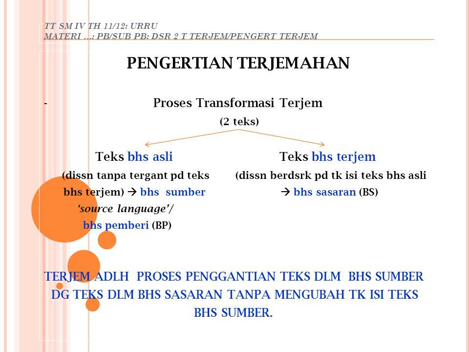 TT SM IV TH 11/12: URRU MATERI …: PB/SUB PB: DSR 2 T TERJEM/PENGERT TERJEM PENGERTIAN TERJEMAHAN - Proses Transformasi Terjem (2 teks) Teks bhs asli T