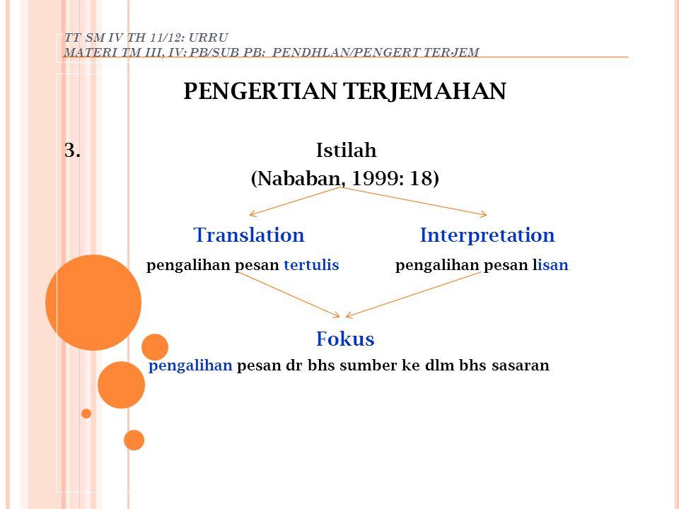 TT SM IV TH 11/12: URRU MATERI TM III, IV: PB/SUB PB: PENDHLAN/PENGERT TERJEM PENGERTIAN TERJEMAHAN 3. Istilah (Nababan, 1999: 18) Translation Interpr