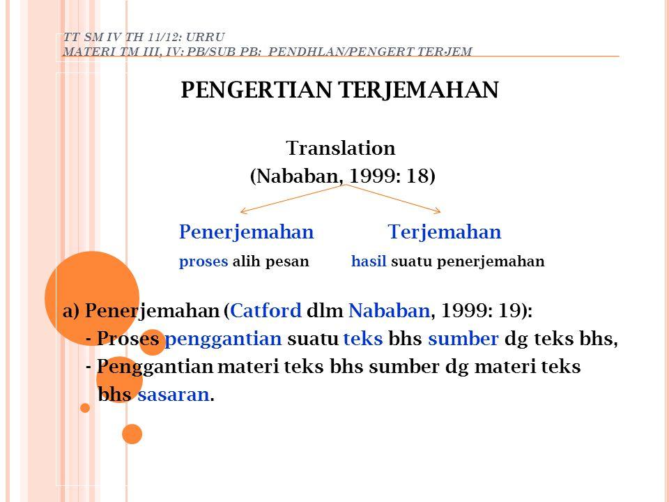 TT SM IV TH 11/12: URRU MATERI TM III, IV: PB/SUB PB: PENDHLAN/PENGERT TERJEM PENGERTIAN TERJEMAHAN Translation (Nababan, 1999: 18) Penerjemahan Terje