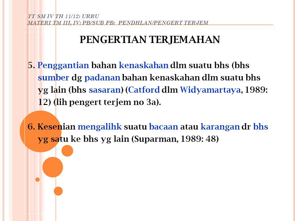 TT SM IV TH 11/12: URRU MATERI TM III, IV: PB/SUB PB: PENDHLAN/PENGERT TERJEM PENGERTIAN TERJEMAHAN 5. Penggantian bahan kenaskahan dlm suatu bhs (bhs