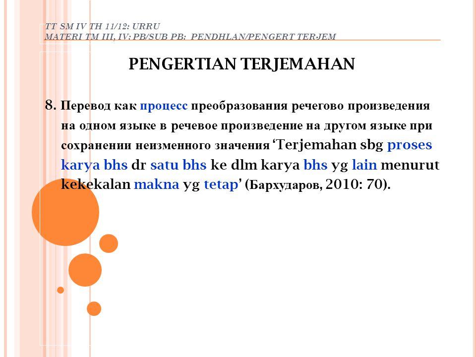 TT SM IV TH 11/12: URRU MATERI TM III, IV: PB/SUB PB: PENDHLAN/PENGERT TERJEM PENGERTIAN TERJEMAHAN 8. Перевод как процесс преобразования речегово про