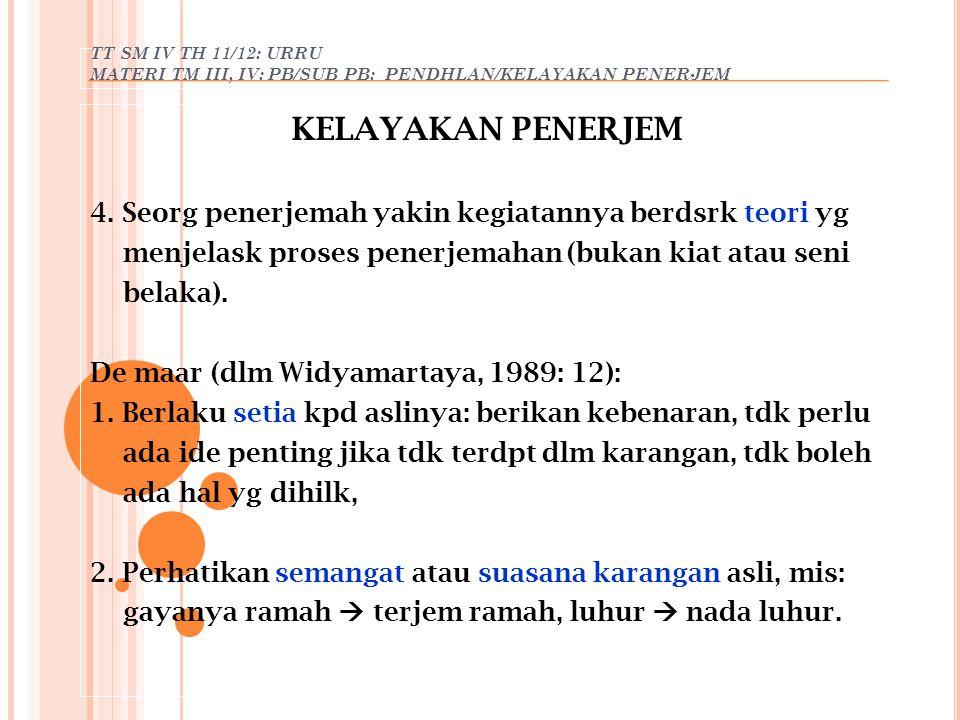 TT SM IV TH 11/12: URRU MATERI TM III, IV: PB/SUB PB: PENDHLAN/KELAYAKAN PENERJEM KELAYAKAN PENERJEM 4. Seorg penerjemah yakin kegiatannya berdsrk teo