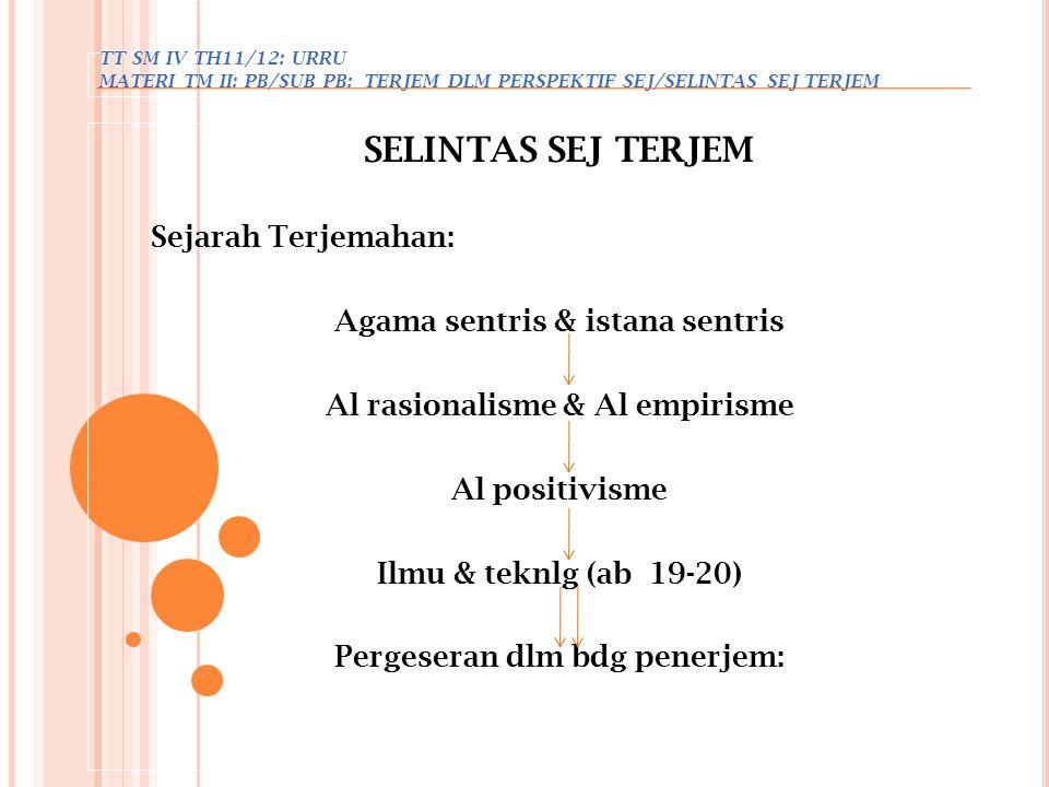 TT SM IV TH 11/12: URRU MATERI …: PB/SUB PB: DSR 2 T TERJEM/METODE TERJEM METODE TERJEMAHAN - Masalah terjemahan (sejak abad pertama SM – permulaan abad XIX): menerjemahkan secara literal atau (secara bebas (lebih menenkank isi pesan d/p btk bhs)  metode ini banyak disukai.
