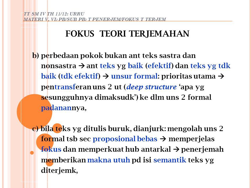 TT SM IV TH 11/12: URRU MATERI V, VI: PB/SUB PB: T PENERJEM/FOKUS T TERJEM FOKUS TEORI TERJEMAHAN b) perbedaan pokok bukan ant teks sastra dan nonsast