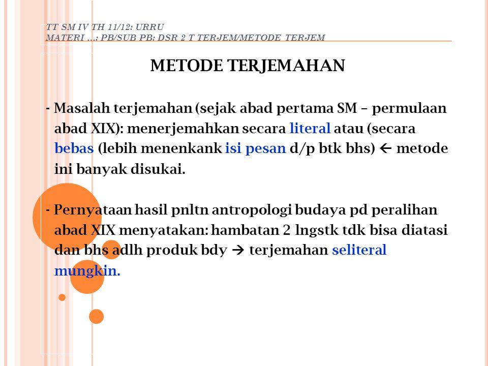 TT SM IV TH 11/12: URRU MATERI …: PB/SUB PB: DSR 2 T TERJEM/METODE TERJEM METODE TERJEMAHAN - Masalah terjemahan (sejak abad pertama SM – permulaan ab