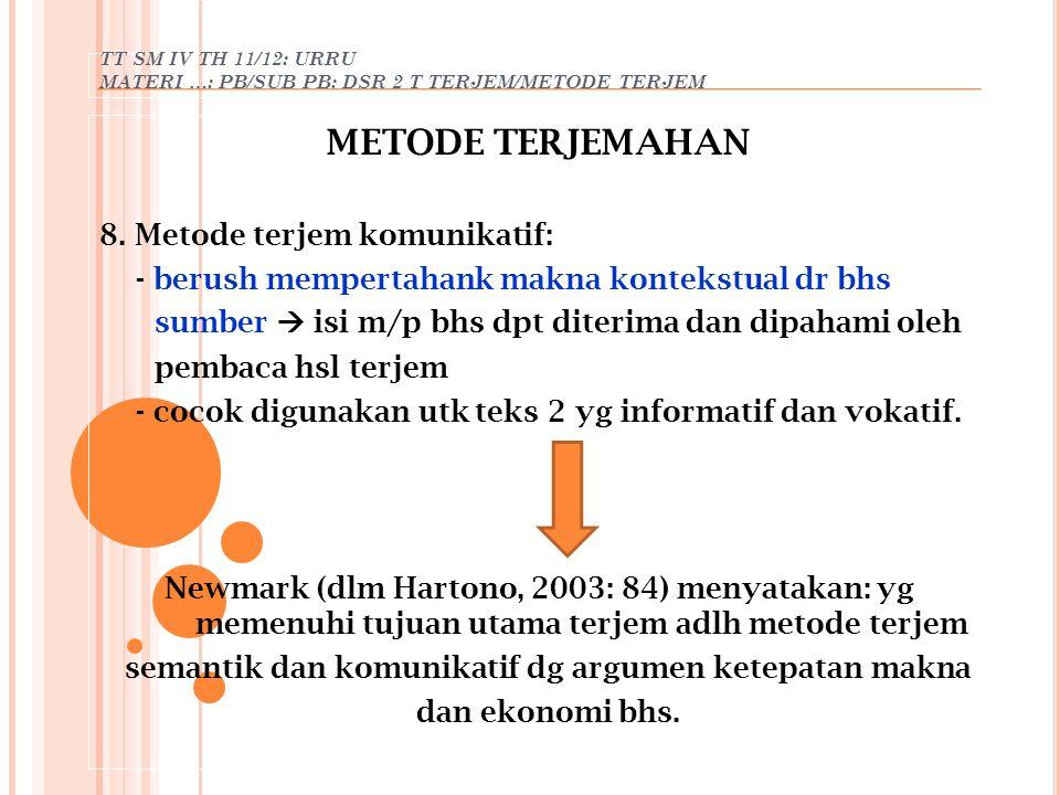 TT SM IV TH 11/12: URRU MATERI …: PB/SUB PB: DSR 2 T TERJEM/METODE TERJEM METODE TERJEMAHAN 8. Metode terjem komunikatif: - berush mempertahank makna