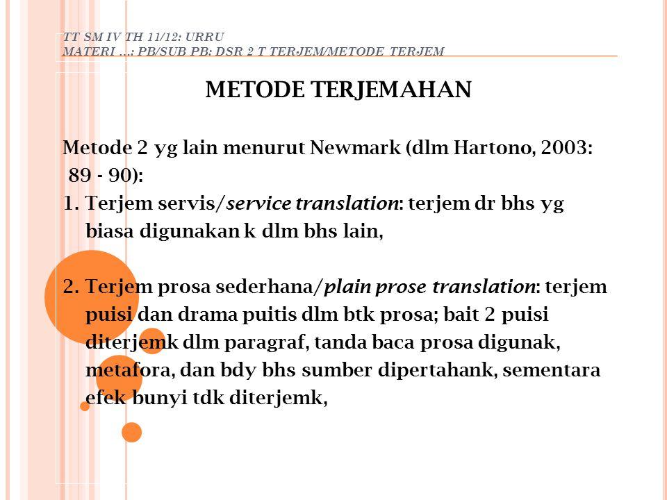 TT SM IV TH 11/12: URRU MATERI …: PB/SUB PB: DSR 2 T TERJEM/METODE TERJEM METODE TERJEMAHAN Metode 2 yg lain menurut Newmark (dlm Hartono, 2003: 89 -