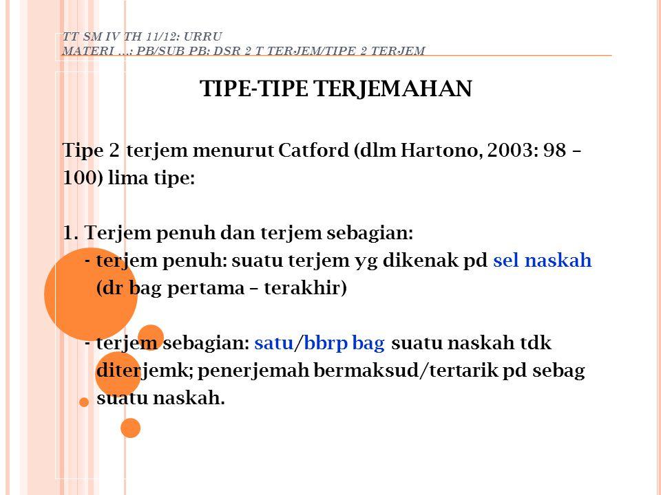 TT SM IV TH 11/12: URRU MATERI …: PB/SUB PB: DSR 2 T TERJEM/TIPE 2 TERJEM TIPE-TIPE TERJEMAHAN Tipe 2 terjem menurut Catford (dlm Hartono, 2003: 98 –