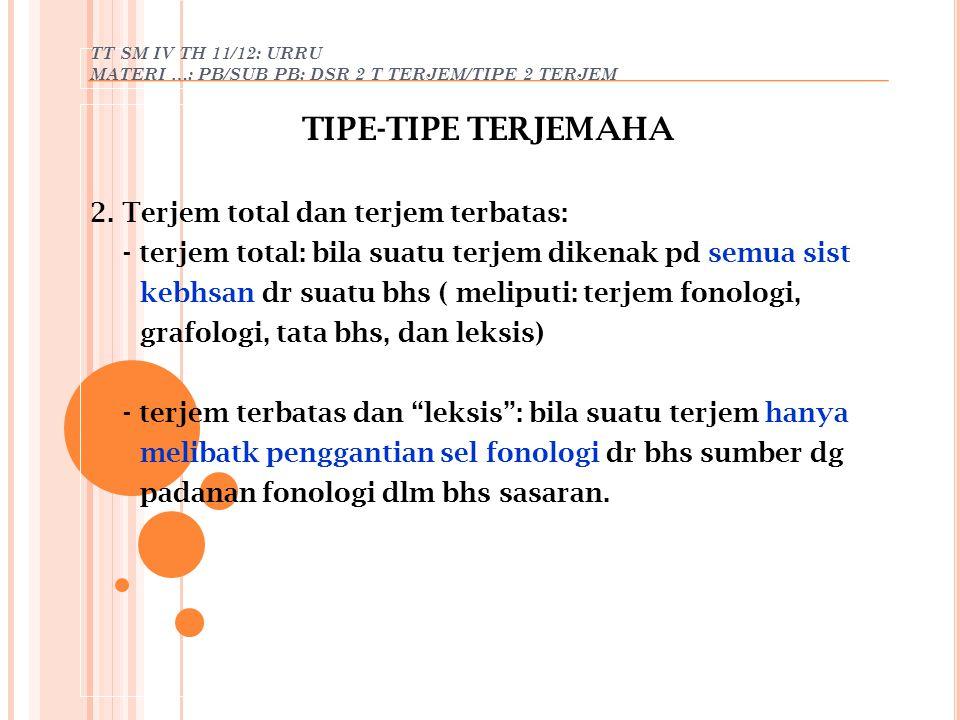 TT SM IV TH 11/12: URRU MATERI …: PB/SUB PB: DSR 2 T TERJEM/TIPE 2 TERJEM TIPE-TIPE TERJEMAHA 2. Terjem total dan terjem terbatas: - terjem total: bil