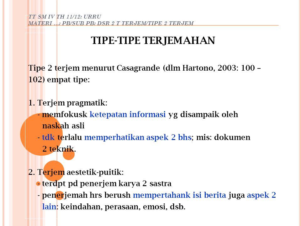 TT SM IV TH 11/12: URRU MATERI …: PB/SUB PB: DSR 2 T TERJEM/TIPE 2 TERJEM TIPE-TIPE TERJEMAHAN Tipe 2 terjem menurut Casagrande (dlm Hartono, 2003: 10
