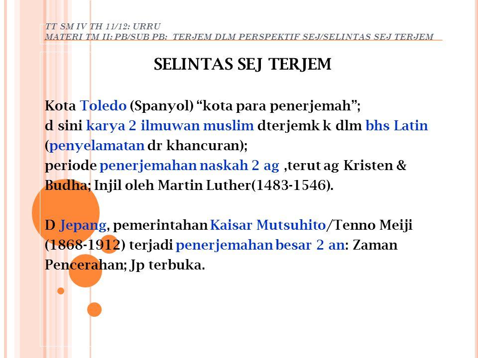 TT SM IV TH 11/12: URRU MATERI TM II: PB/SUB PB: TERJEM DLM PERSPEKTIF SEJ/KARYA SADURAN KARYA SADURAN Penerbitan pertama (Id): agama; contoh (Yusuf, 1994: 48- 50): - Tafsir Al Qur'an, - Arjunawiwaha karya Mpu Kanwa; saduran dr Wanaparwa (kitab ketiga Mahabarata dlm bhs Sansekerta k dlm bhs Jawa Kuno/Kawi); Disadur kembali oleh Sunan Paku Buwono III k dlm bhs Jawa Baru, dg menggnk tembang Macapat diberi judul: Serat Wiwaha Jawa/Mintaraga.