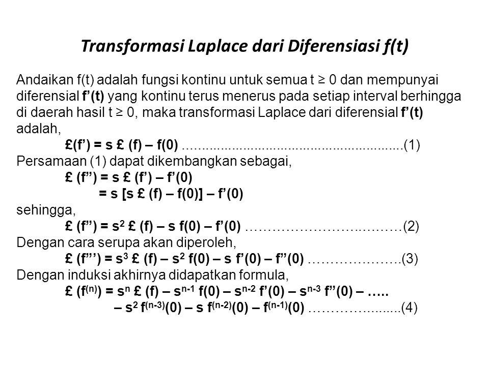 Transformasi Laplace dari Diferensiasi f(t) Andaikan f(t) adalah fungsi kontinu untuk semua t ≥ 0 dan mempunyai diferensial f'(t) yang kontinu terus m
