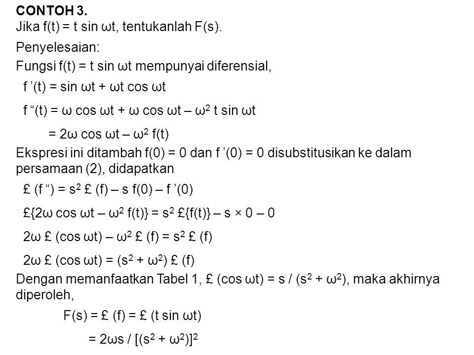 """CONTOH 3. Jika f(t) = t sin ωt, tentukanlah F(s). Penyelesaian: Fungsi f(t) = t sin ωt mempunyai diferensial, f '(t) = sin ωt + ωt cos ωt f """"(t) = ω c"""