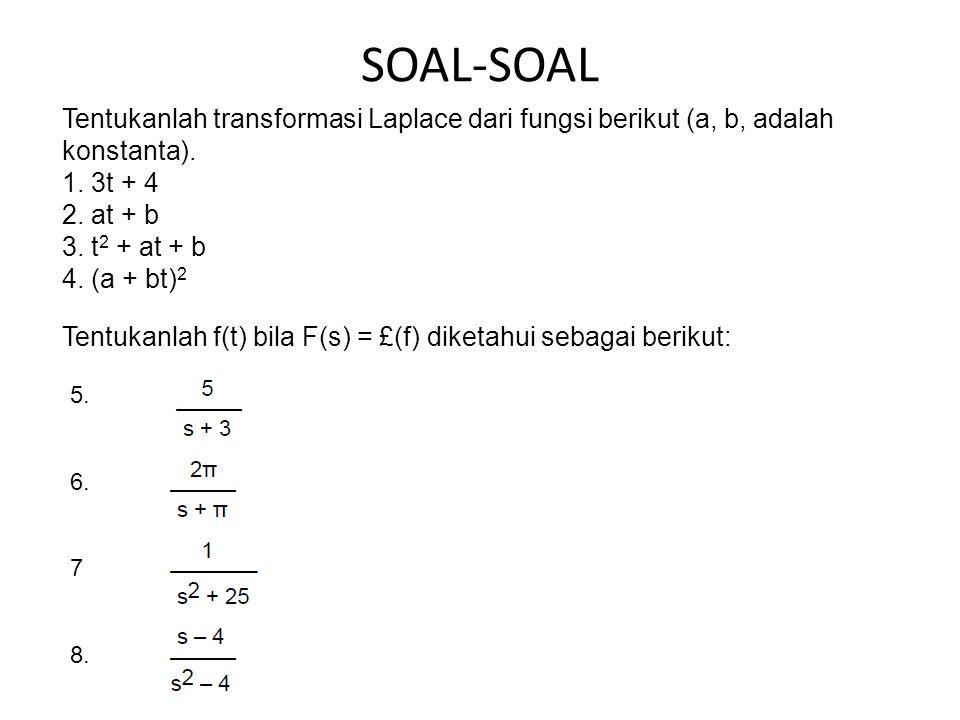 SOAL-SOAL Tentukanlah transformasi Laplace dari fungsi berikut (a, b, adalah konstanta).
