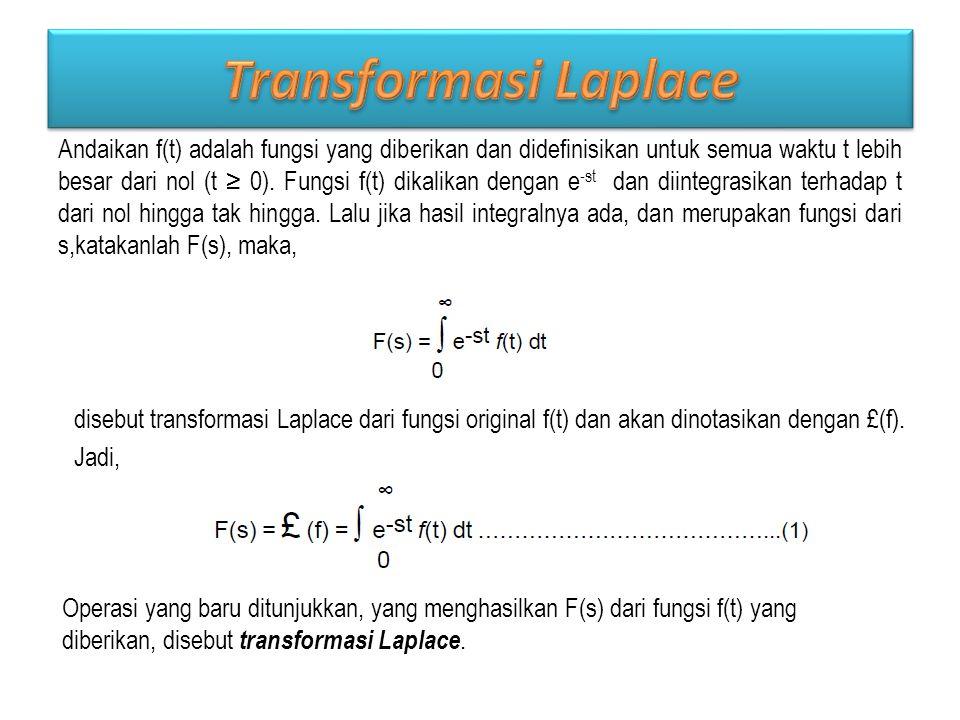 Andaikan f(t) adalah fungsi yang diberikan dan didefinisikan untuk semua waktu t lebih besar dari nol (t ≥ 0).