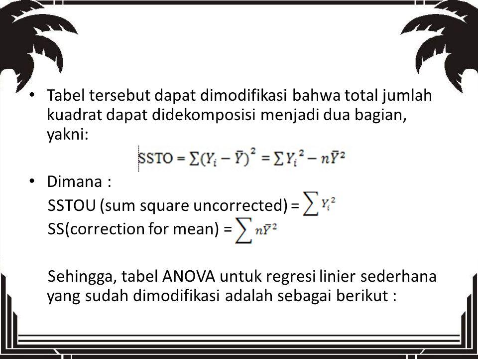 Tabel tersebut dapat dimodifikasi bahwa total jumlah kuadrat dapat didekomposisi menjadi dua bagian, yakni: Dimana : SSTOU (sum square uncorrected) =