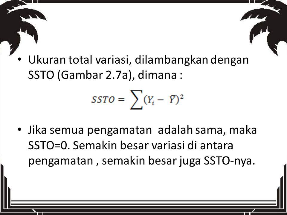 Ukuran total variasi, dilambangkan dengan SSTO (Gambar 2.7a), dimana : Jika semua pengamatan adalah sama, maka SSTO=0. Semakin besar variasi di antara