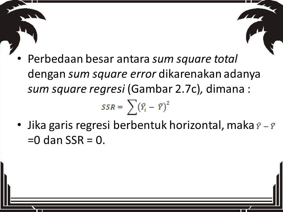 Perbedaan besar antara sum square total dengan sum square error dikarenakan adanya sum square regresi (Gambar 2.7c), dimana : Jika garis regresi berbe