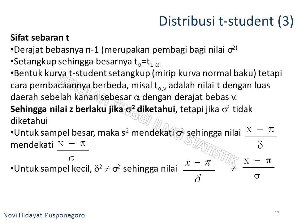 Novi Hidayat Pusponegoro Distribusi t-student (3) Sifat sebaran t Derajat bebasnya n-1 (merupakan pembagi bagi nilai  2) Setangkup sehingga besarnya