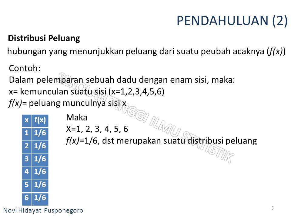 Novi Hidayat Pusponegoro PENDAHULUAN (2) Distribusi Peluang hubungan yang menunjukkan peluang dari suatu peubah acaknya (f(x)) Contoh: Dalam pelempara