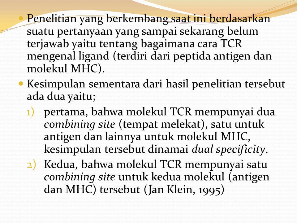 Penelitian yang berkembang saat ini berdasarkan suatu pertanyaan yang sampai sekarang belum terjawab yaitu tentang bagaimana cara TCR mengenal ligand