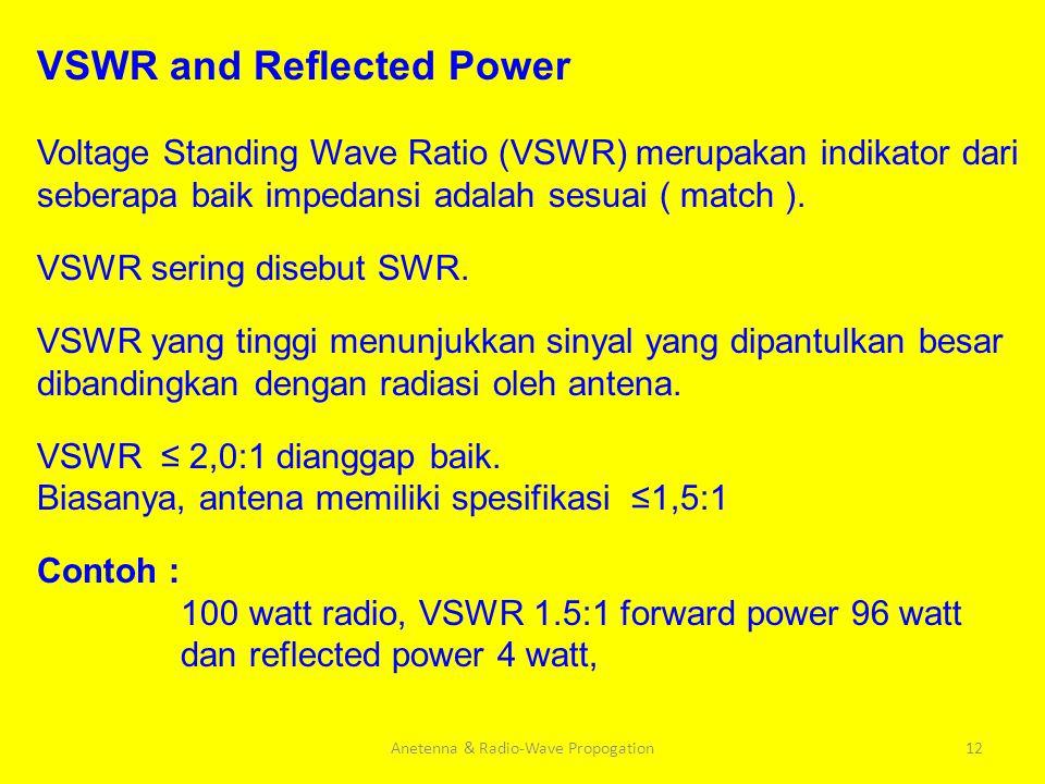 Anetenna & Radio-Wave Propogation12 VSWR and Reflected Power Voltage Standing Wave Ratio (VSWR) merupakan indikator dari seberapa baik impedansi adala