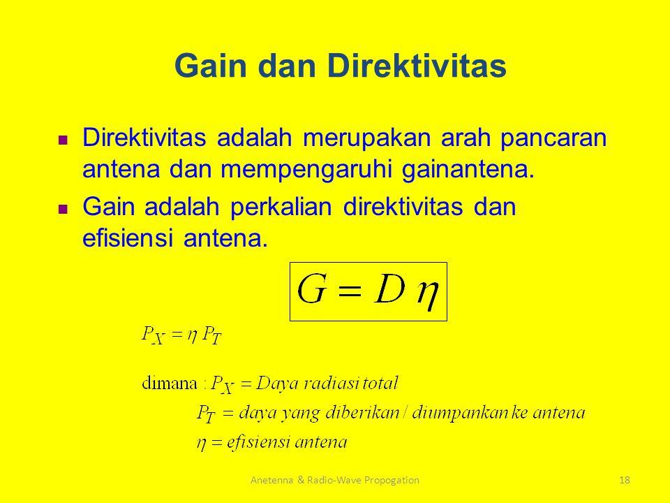 Anetenna & Radio-Wave Propogation18 Gain dan Direktivitas Direktivitas adalah merupakan arah pancaran antena dan mempengaruhi gainantena. Gain adalah
