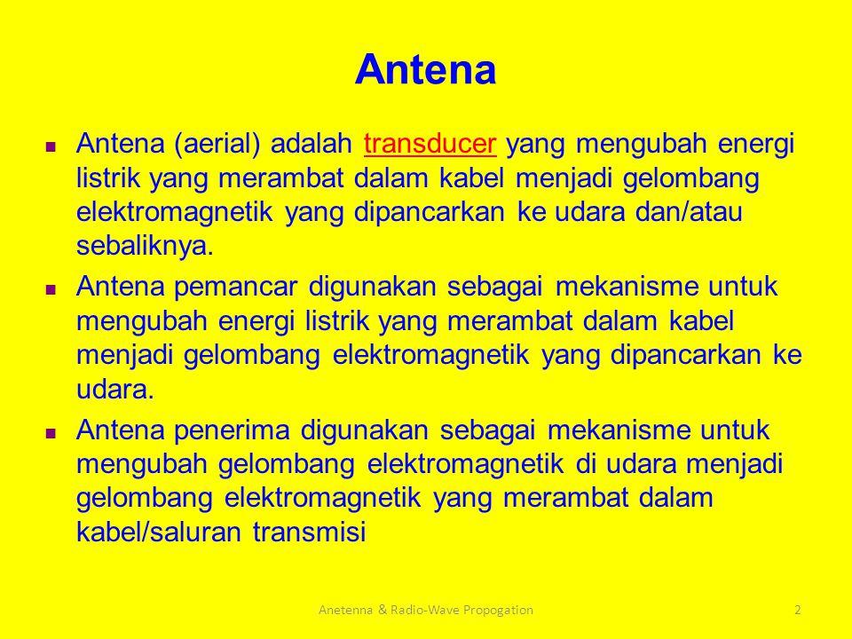 2 Antena Antena (aerial) adalah transducer yang mengubah energi listrik yang merambat dalam kabel menjadi gelombang elektromagnetik yang dipancarkan k