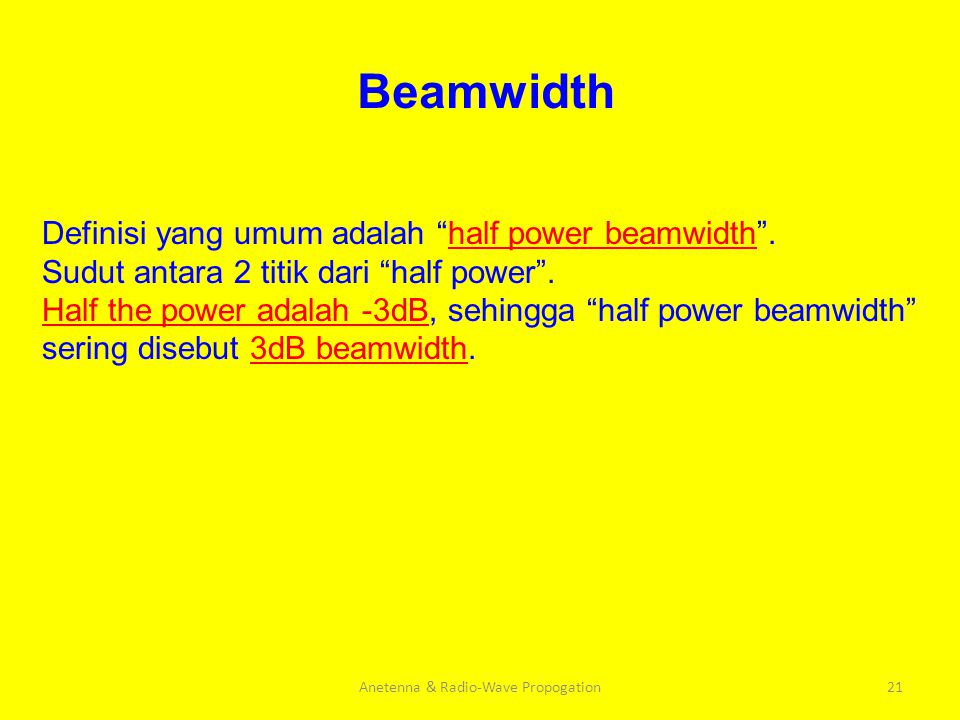 "Anetenna & Radio-Wave Propogation21 Beamwidth Definisi yang umum adalah ""half power beamwidth"". Sudut antara 2 titik dari ""half power"". Half the power"