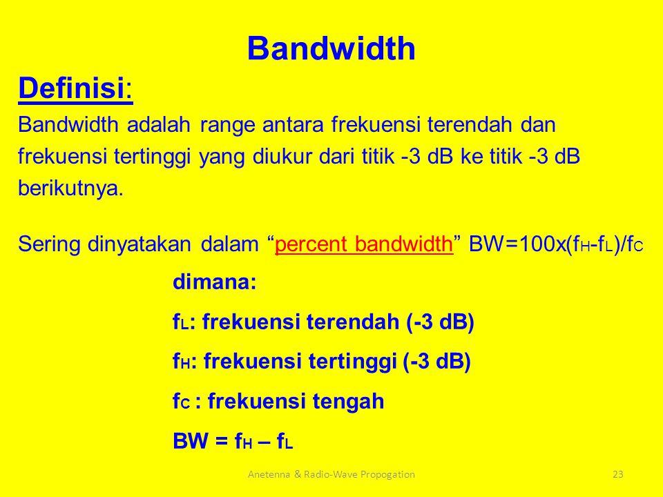 Bandwidth Definisi: Bandwidth adalah range antara frekuensi terendah dan frekuensi tertinggi yang diukur dari titik -3 dB ke titik -3 dB berikutnya. S