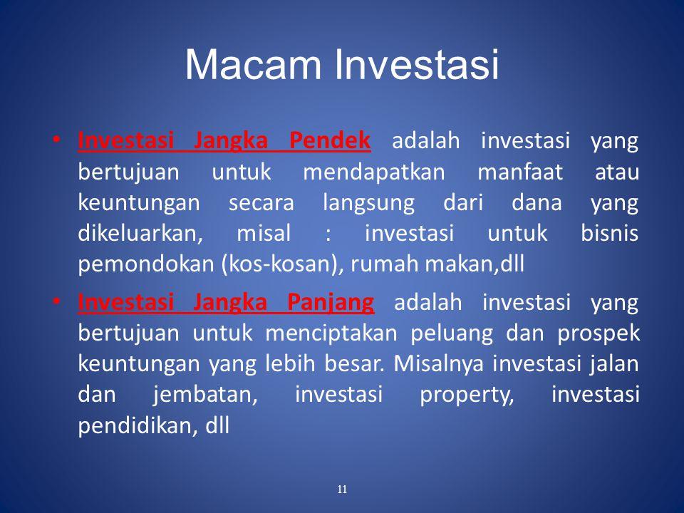 11 Macam Investasi Investasi Jangka Pendek adalah investasi yang bertujuan untuk mendapatkan manfaat atau keuntungan secara langsung dari dana yang di