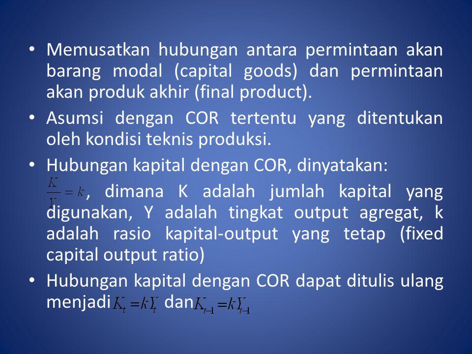 Memusatkan hubungan antara permintaan akan barang modal (capital goods) dan permintaan akan produk akhir (final product). Asumsi dengan COR tertentu y