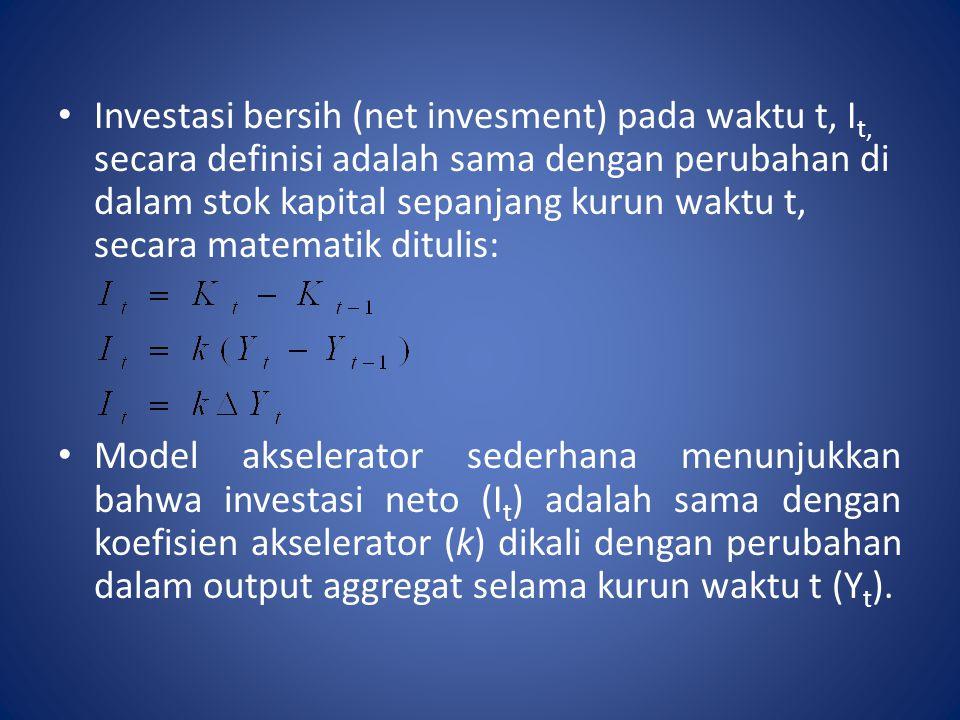 Investasi bersih (net invesment) pada waktu t, I t, secara definisi adalah sama dengan perubahan di dalam stok kapital sepanjang kurun waktu t, secara